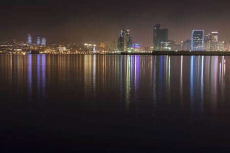 Panorama of the seaside boulevard in Baku at night