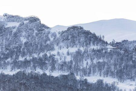 Illuminated ski run at dawn in Bakuriani 스톡 콘텐츠