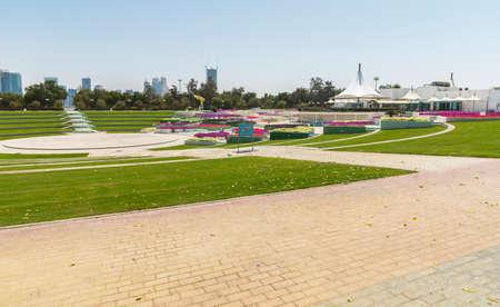 Floral amphitheater in the park at Al Mamzar beach in Dubai Фото со стока