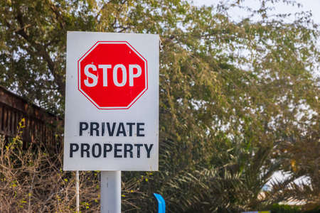 Stop sign with the inscription private property