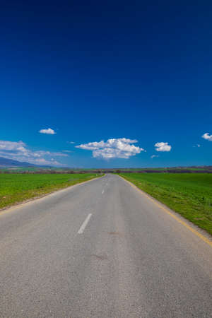 Asphalt road between green fields