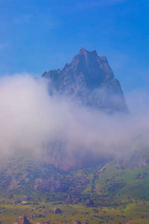 Sacred mountain Beshbarmag in Azerbaijan Imagens