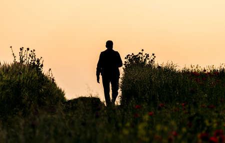 Silhouette of a man walking in a poppy field
