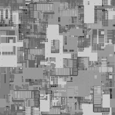 Seamless repeating pattern of height maps. Can be used for futuristic objects in 3D