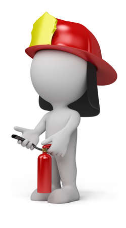 fireman: 3d person - fireman with the fire extinguisher and in a helmet. 3d image. Isolated white background. Stock Photo