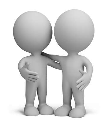 3d small person: two friends standing next to an embrace. 3d image. Isolated white background.