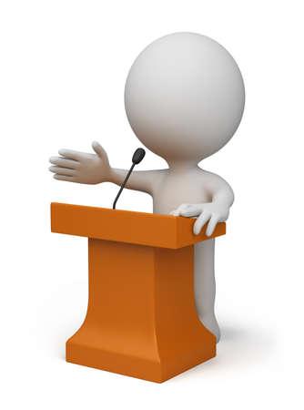 3 � persona habla desde una tribuna. Imagen en 3d. Aislado fondo blanco.