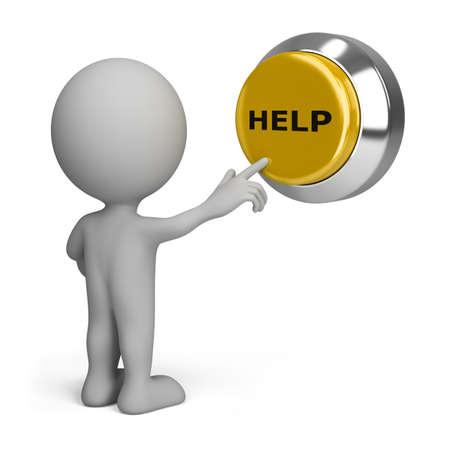 3d persona premendo il pulsante giallo l'aiuto. Immagine 3D. Isolato sfondo bianco. Archivio Fotografico - 12611897