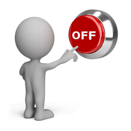 on off: 3d person pressing the red button off. 3d image. Isolated white background.