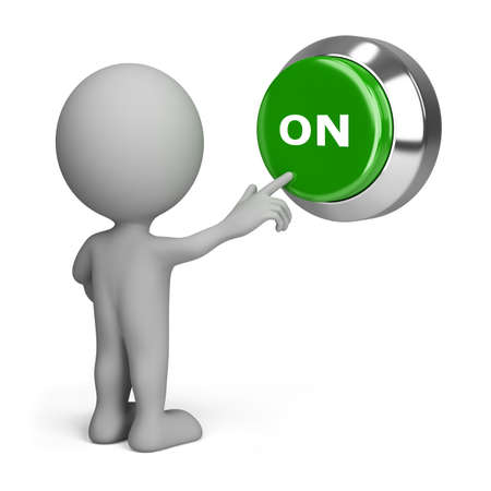 include: 3d small people pressing the green button to include. 3d image. Isolated white background. Stock Photo