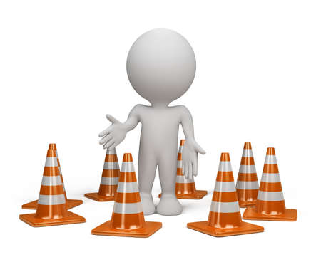 3dl person standing in the warning position next to traffic cone. 3d image. Isolated white background. photo