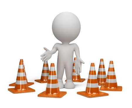 3DL persona de pie en la posici�n de advertencia junto al cono de tr�fico. Imagen en 3d. Aislado fondo blanco.