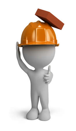 3d person - builder man in a helmet with a falling brick from the top. 3d image. Isolated white background. Archivio Fotografico