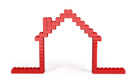 3D house of the plastic pieces of children photo