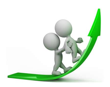 성장: 한 사람이 녹색 화살표에 올라 서로를하는 데 도움이됩니다. 3D 이미지. 격리 된 흰색 배경.