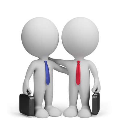 dos amigos de pie junto a un abrazo. Imagen en 3d. Aislado fondo blanco.