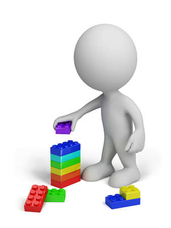 3d person with a colorful plastic toy blocks. 3d image. Isolated white background.