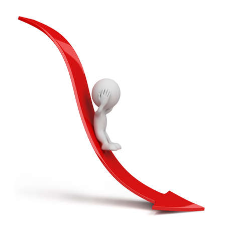 3d person rolls down the red arrow. 3d image. Isolated white background. Archivio Fotografico