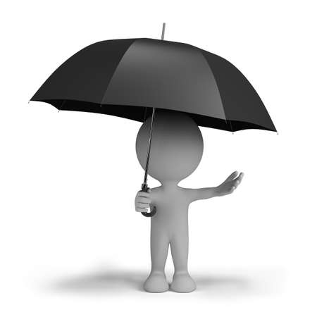 3d person hiding from the rain under an umbrella. 3d image. Isolated white background. Standard-Bild
