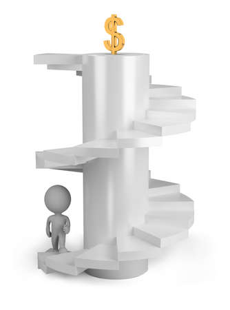 attain: 3d pеrsоn climbs the stairs to the top. 3d image. Isolated white background.