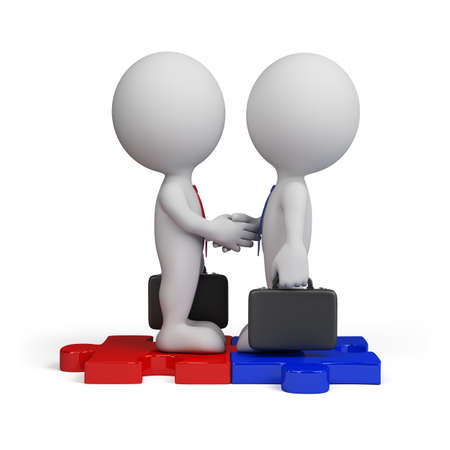 meeting business: 3d business people standing on the puzzle and make a handshake. 3d image. Isolated white background.