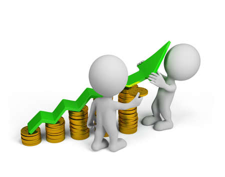 Two 3d person - more profit. 3d image. Isolated white background. Stock Photo
