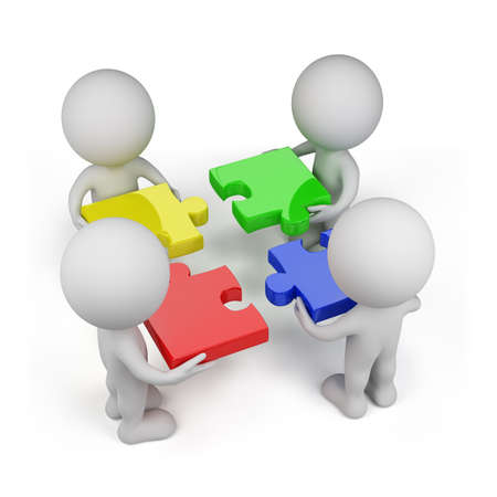 group chain: 3d person - team with multi-colored puzzles. Isolated white background.
