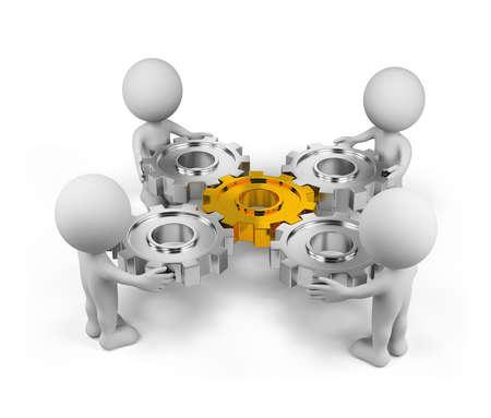 Cuatro persona con un mecanismo de engranaje. Imagen en 3D. Aislado fondo blanco.
