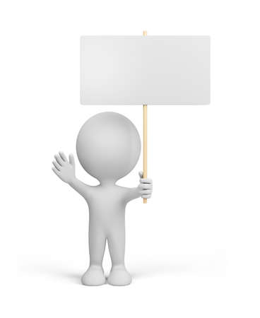 3d person with the blank announcement in hands. 3d image. White background.