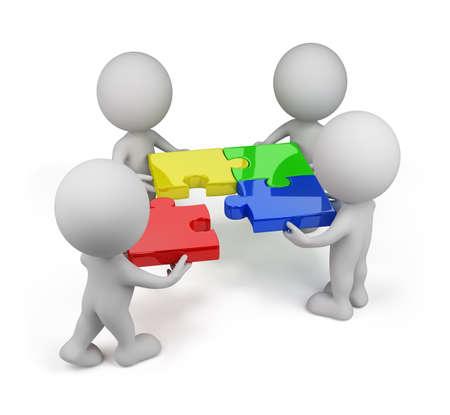 3d persona - squadra con i puzzle multicolore. Immagine 3D. Sfondo bianco.