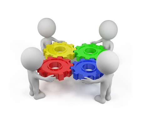 Cuatro persona con un mecanismo de engranaje. Imagen en 3D. Fondo blanco.