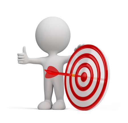 uomo rosso: Freccia rossa nel centro del bersaglio. Immagine 3D. Sfondo bianco.