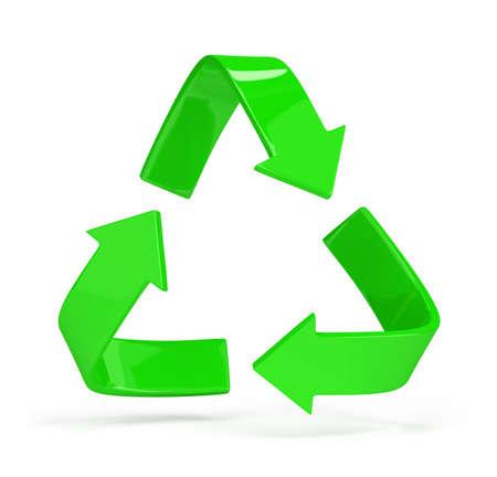Las flechas verdes s�mbolo de reciclaje. Imagen en 3D. Fondo blanco. Foto de archivo