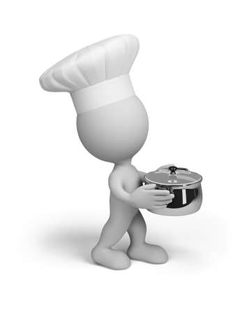 carries: Chef proudly carries a cooked dish. 3d image. White background. Stock Photo