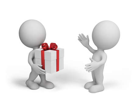 3d person brought a gift to a friend. 3d image. White background.