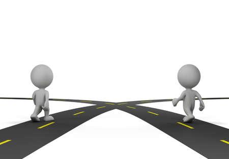 Dos personas en el cruce de caminos. Imagen en 3D. Fondo blanco.