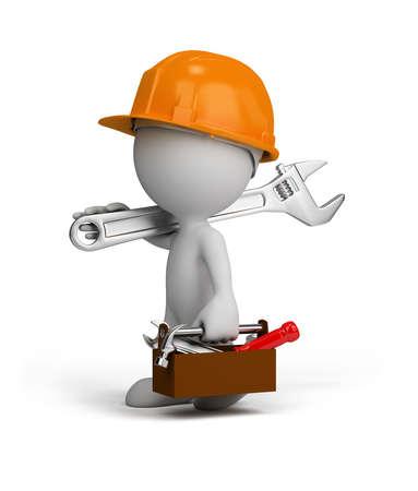 Reparador 3d va a hacer su trabajo. Imagen en 3D. Fondo blanco.
