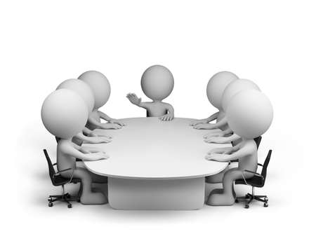 Meeting in conference room. 3d image. White background. Standard-Bild