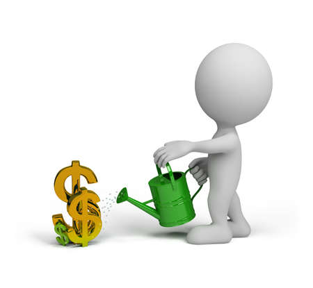 3D person watering the dollar from a watering can. 3D image. White background. Standard-Bild