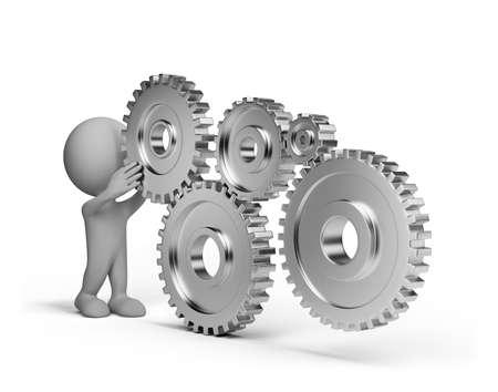 3 � persona con unos engranajes de las ruedas brillantes. Imagen en 3D. Fondo blanco.