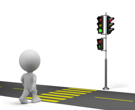 pedestrian walkway: 3d person crossing the road on the green traffic light. 3d image. White background.