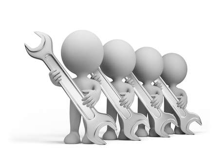 Team of repairmen with the tool. 3D image. White background. Stock Photo