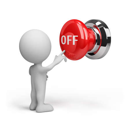 on off button: 3d person pressing the button off. 3d image. White background. Stock Photo