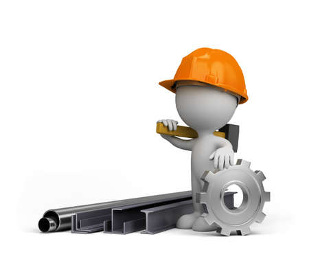 heavy industry: 3d person showing the products of heavy industry. 3d image. White background.
