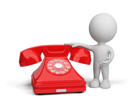 3D hombre con un tel�fono rojo. Imagen en 3D. El fondo blanco.