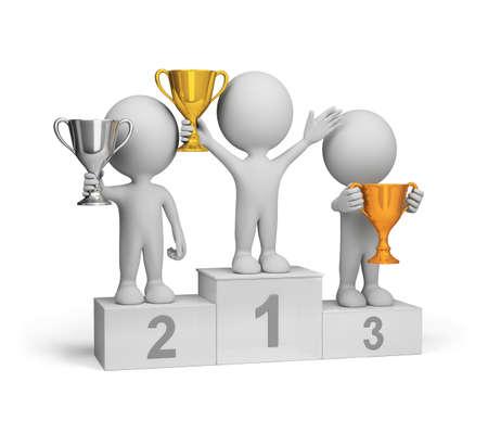 Los ganadores con premios en el podio. Imagen en 3D. El fondo blanco. Foto de archivo