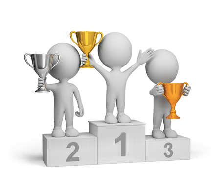 Winners with awards at the podium. 3d image. White background. Stock Photo