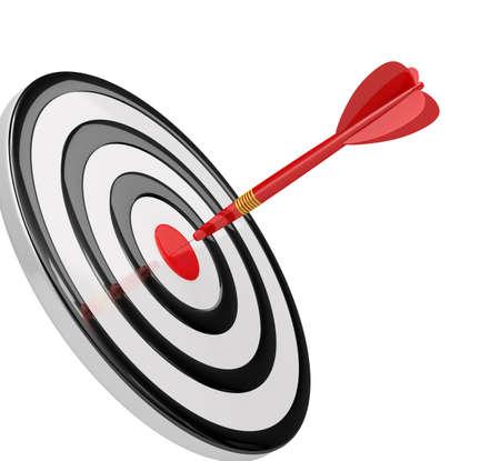 competitividad: Logro de sus objetivos. Imagen en 3D. El fondo blanco.