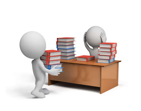 workload: 3d man carries a large stack of documents in the office. 3d image. White background.