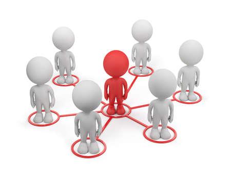 3 � persona y de la red social. Imagen en 3D. El fondo blanco.